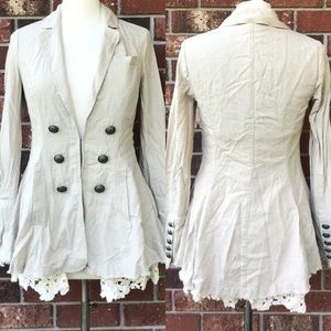 Free People Linen and Lace Military Style Blazer